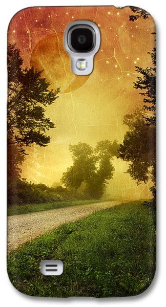 Rollo Digital Art Galaxy S4 Cases - Red Sky Along Starry Pathway Galaxy S4 Case by Christina Rollo