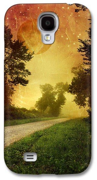 Christina Digital Galaxy S4 Cases - Red Sky Along Starry Pathway Galaxy S4 Case by Christina Rollo