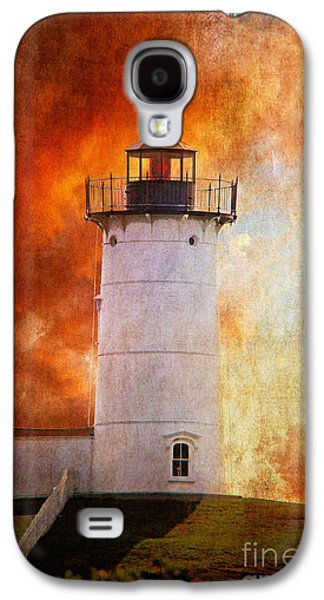 Maine Lighthouses Galaxy S4 Cases - Red Sky At Morning - Nubble Lighthouse Galaxy S4 Case by Lois Bryan