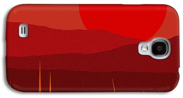 Color Block Galaxy S4 Cases - Red Sky - Red Sunset Galaxy S4 Case by Val Arie