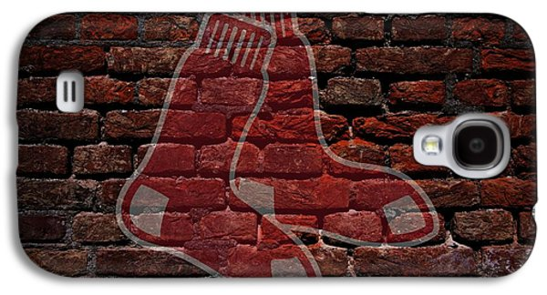 Red Sox Art Galaxy S4 Cases - Red Sox Baseball Graffiti on Brick  Galaxy S4 Case by Movie Poster Prints