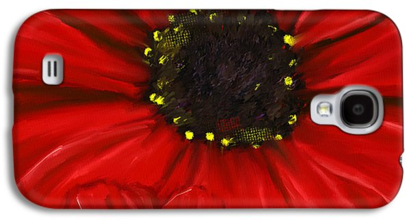 Shades Of Red Galaxy S4 Cases - Red Spectacular- Red Gerbera Daisy Painting Galaxy S4 Case by Lourry Legarde