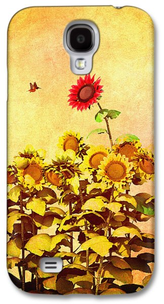 Floral Digital Art Galaxy S4 Cases - Red Sunflower Galaxy S4 Case by Bob Orsillo