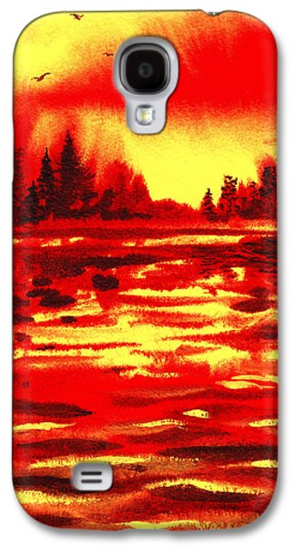 Two Colors Paintings Galaxy S4 Cases - Red Sunset Galaxy S4 Case by Irina Sztukowski