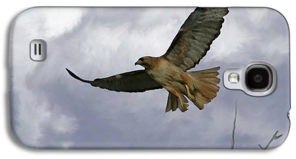 Red Tail Hawks Galaxy S4 Cases - Red Tail Hawk Digital Freehand Painting 1 Galaxy S4 Case by Ernie Echols