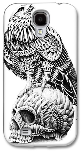 Native Drawings Galaxy S4 Cases - Red-Tail Skull Galaxy S4 Case by BioWorkZ