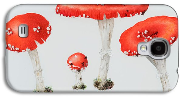 Toadstools Galaxy S4 Cases - Red Toadstools Fly Agaric  Galaxy S4 Case by Sally Crosthwaite