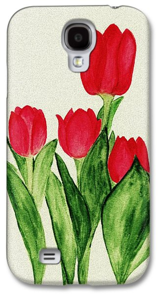 Floral Digital Art Galaxy S4 Cases - Red Tulips Galaxy S4 Case by Anastasiya Malakhova