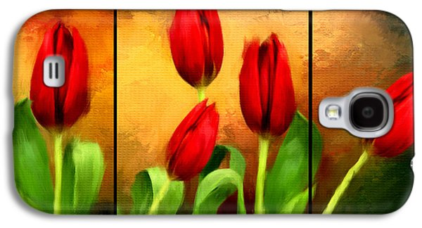 Floral Digital Art Galaxy S4 Cases - Red Tulips Triptych Galaxy S4 Case by Lourry Legarde