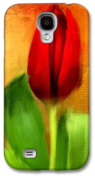 Floral Digital Art Galaxy S4 Cases - Red Tulips Triptych Section 1 Galaxy S4 Case by Lourry Legarde