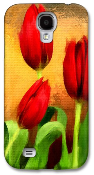 Floral Digital Art Galaxy S4 Cases - Red Tulips Triptych Section 2 Galaxy S4 Case by Lourry Legarde