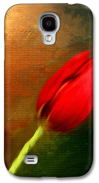 Floral Digital Art Galaxy S4 Cases - Red Tulips Triptych Section 3 Galaxy S4 Case by Lourry Legarde