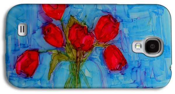 Interior Still Life Drawings Galaxy S4 Cases - Red Tulips with blue background Galaxy S4 Case by Patricia Awapara