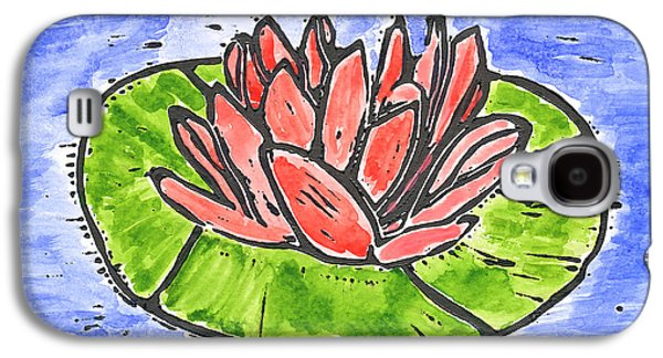 Lino-cut Galaxy S4 Cases - Red Waterlily Galaxy S4 Case by Lynn-Marie Gildersleeve