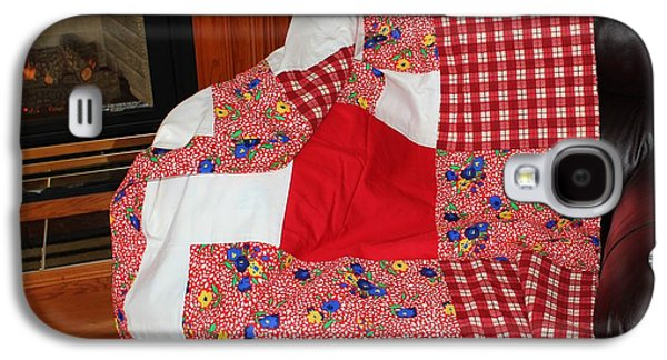 Block Quilts Tapestries - Textiles Galaxy S4 Cases - Red White and Gingham with Flowery Blocks Patchwork Quilt Galaxy S4 Case by Barbara Griffin