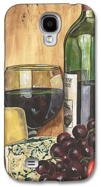 Purple Paintings Galaxy S4 Cases - Red Wine and Cheese Galaxy S4 Case by Debbie DeWitt