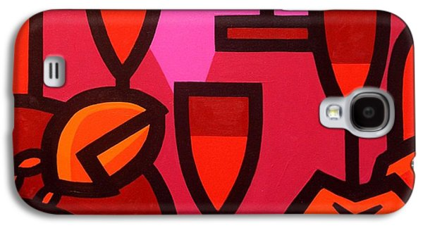 Wine Canvas Paintings Galaxy S4 Cases - Red Wine Lobster and Apples Galaxy S4 Case by John  Nolan