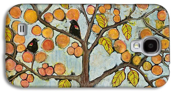 Red Winged Black Birds In A Tree Galaxy S4 Case by Blenda Studio