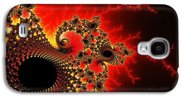 Abstract Digital Photographs Galaxy S4 Cases - Red yellow and black fractal flashes and spirals Galaxy S4 Case by Matthias Hauser