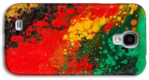 Abstract Canvas Galaxy S4 Cases - Red Yellow Green Black Abstract Galaxy S4 Case by Sharon Cummings