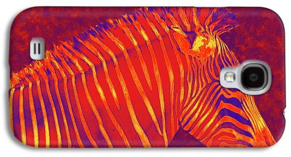 Zebra Digital Art Galaxy S4 Cases - Red Zebra Galaxy S4 Case by Jane Schnetlage