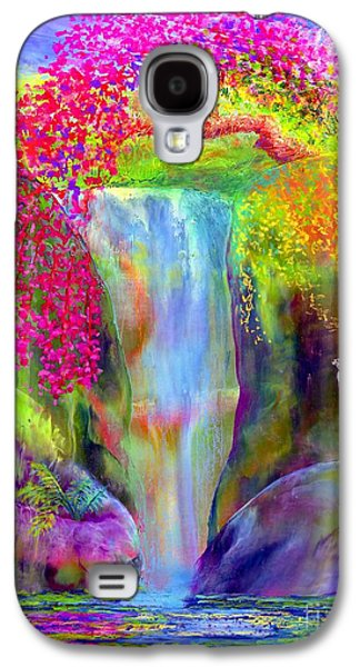 Colorful Paintings Galaxy S4 Cases - Redbud Falls Galaxy S4 Case by Jane Small