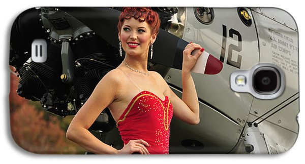 Strapless Dress Galaxy S4 Cases - Redhead Pin-up Girl In 1940s Style Galaxy S4 Case by Christian Kieffer