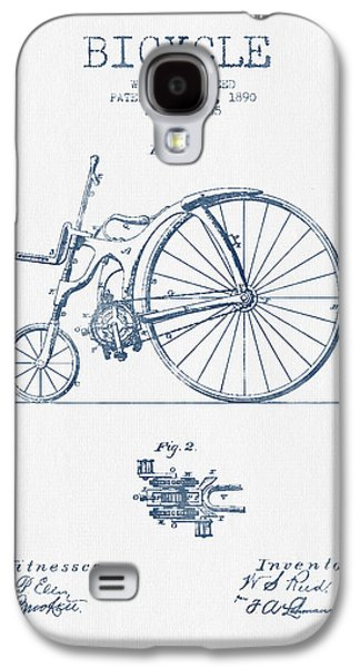 Reed Bicycle Patent Drawing From 1890 - Blue Ink Galaxy S4 Case by Aged Pixel