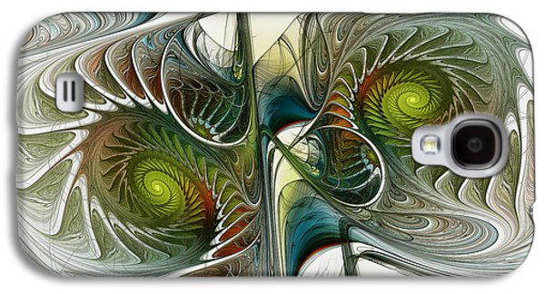 Contemplative Digital Galaxy S4 Cases - Reflected Spirals Fractal Art Galaxy S4 Case by Karin Kuhlmann