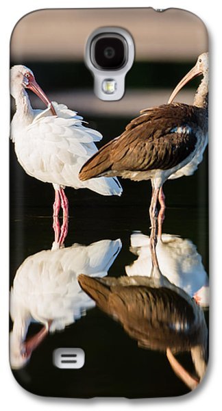Fauna Photographs Galaxy S4 Cases - Reflection of Two Young Ibis Galaxy S4 Case by Andres Leon
