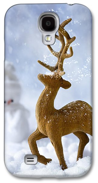 Snow Scene Galaxy S4 Cases - Reindeer In Snow Galaxy S4 Case by Amanda And Christopher Elwell