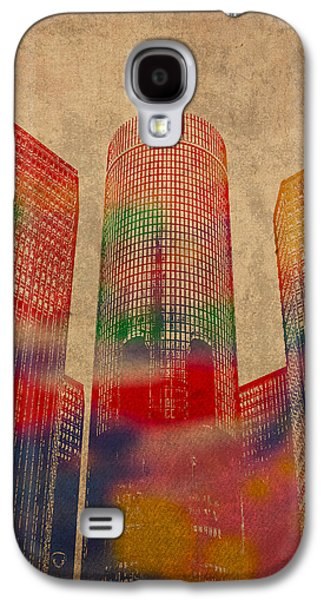 Renaissance Center Galaxy S4 Cases - Renaissance Center Iconic Buildings of Detroit Watercolor on Worn Canvas Series Number 2 Galaxy S4 Case by Design Turnpike