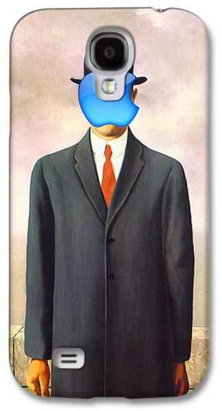 Hovering Galaxy S4 Cases - Rene Magritte Son of Man Apple Computer Logo Galaxy S4 Case by Tony Rubino