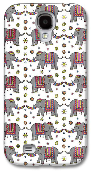Repeat Print - Indian Elephant Galaxy S4 Case by Susan Claire