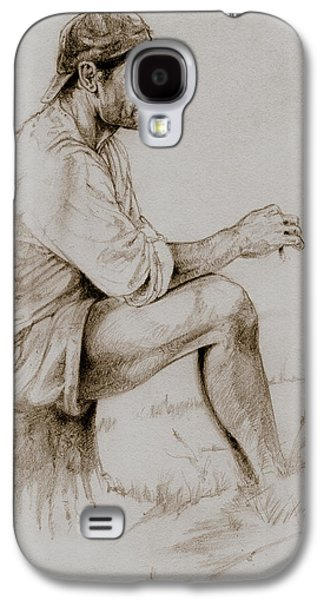 Contemplative Drawings Galaxy S4 Cases - Repose Galaxy S4 Case by Derrick Higgins