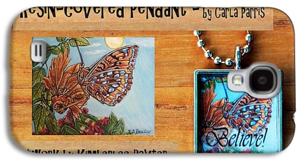 Fauna Jewelry Galaxy S4 Cases - Resin Pendant with Butterfly and Sky Galaxy S4 Case by Carla Parris
