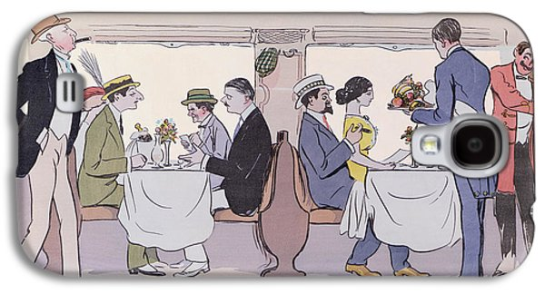 Fine Drawings Galaxy S4 Cases - Restaurant Car in the Paris to Nice Train Galaxy S4 Case by Sem