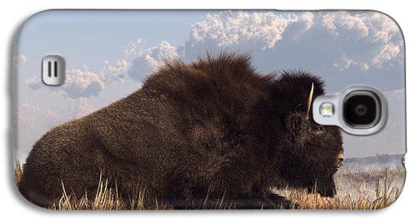 Buffalo Art Digital Art Galaxy S4 Cases - Resting Bison Galaxy S4 Case by Daniel Eskridge