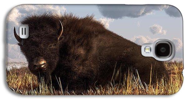 Buffalo Art Digital Art Galaxy S4 Cases - Resting Buffalo Galaxy S4 Case by Daniel Eskridge