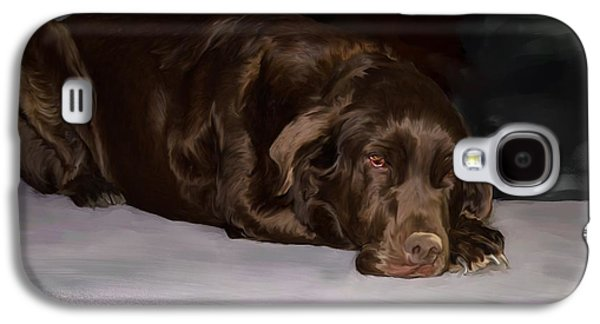 Chocolate Lab Digital Art Galaxy S4 Cases - Resting chocolate lab Galaxy S4 Case by Debra Baldwin