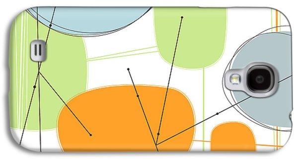 Geometric Digital Art Galaxy S4 Cases - Retro Abstract in Orange and Green Galaxy S4 Case by Karyn Lewis Bonfiglio
