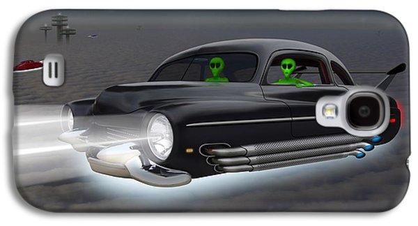 Alien Galaxy S4 Cases - Retro Flying Objects 4 Galaxy S4 Case by Mike McGlothlen
