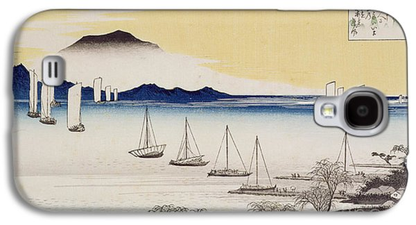 Sunset Posters Galaxy S4 Cases - Returning Sails at Yabase Galaxy S4 Case by Hiroshige
