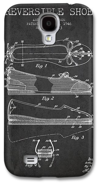 Shoe Digital Art Galaxy S4 Cases - Reversible Shoe Patent from 1946 - Charcoal Galaxy S4 Case by Aged Pixel