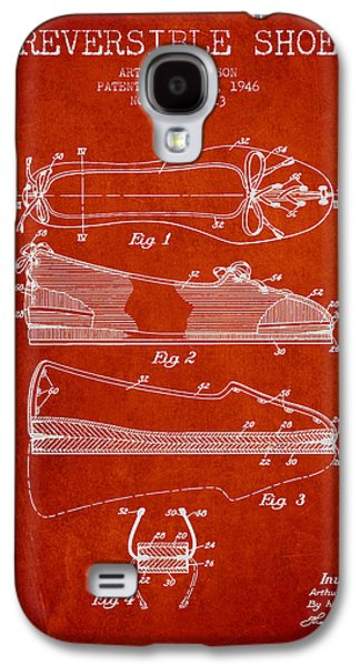 Shoe Digital Art Galaxy S4 Cases - Reversible Shoe Patent from 1946 - Red Galaxy S4 Case by Aged Pixel