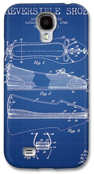 Shoe Digital Art Galaxy S4 Cases - Reversible Shoe Patent from 1946 - Blueprint Galaxy S4 Case by Aged Pixel
