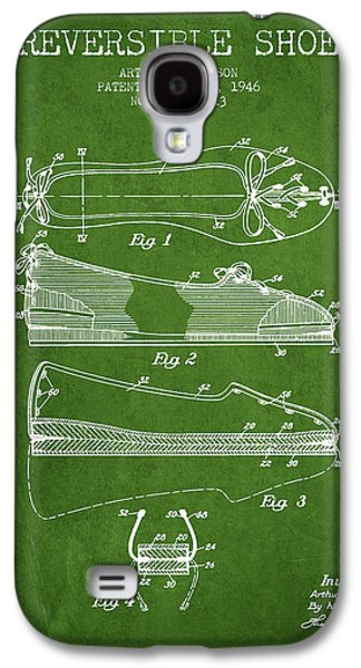 Shoe Digital Art Galaxy S4 Cases - Reversible Shoe Patent from 1946 - Green Galaxy S4 Case by Aged Pixel