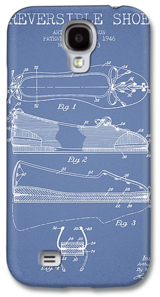 Shoe Digital Art Galaxy S4 Cases - Reversible Shoe Patent from 1946 - Light Blue Galaxy S4 Case by Aged Pixel