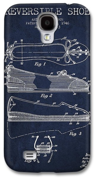 Shoe Digital Art Galaxy S4 Cases - Reversible Shoe Patent from 1946 - Navy Blue Galaxy S4 Case by Aged Pixel