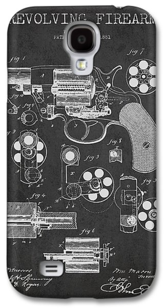 Revolving Firearm Patent Drawing From 1881 - Dark Galaxy S4 Case by Aged Pixel